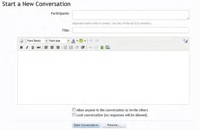 start new conversation text editor